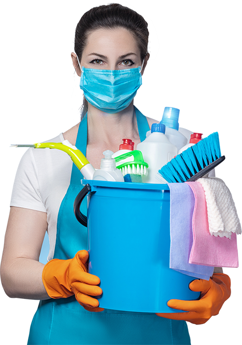 Residential cleaning technician in mask carrying cleaning supplies