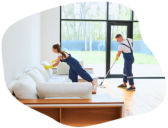 Cleaning technicians performing home staging cleaning on Oakville residence