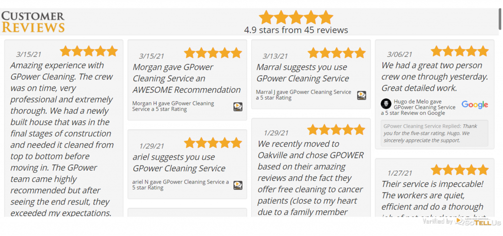 Compilation of 5-star reviews for GPower Cleaning Services