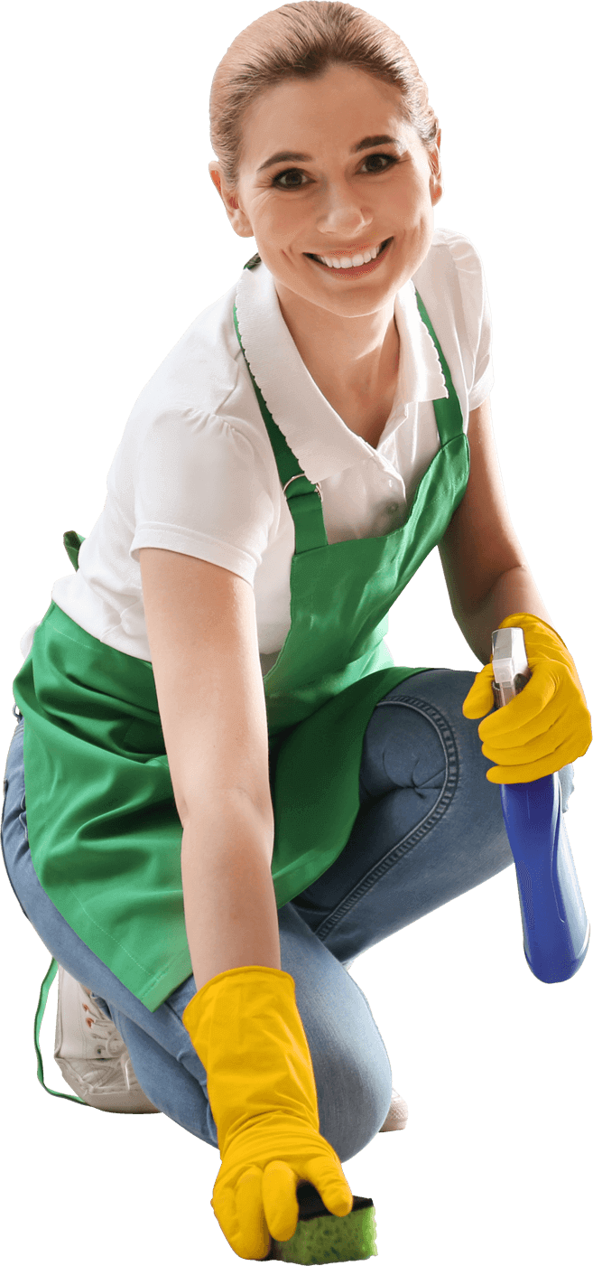 Professional cleaning woman in a green apron