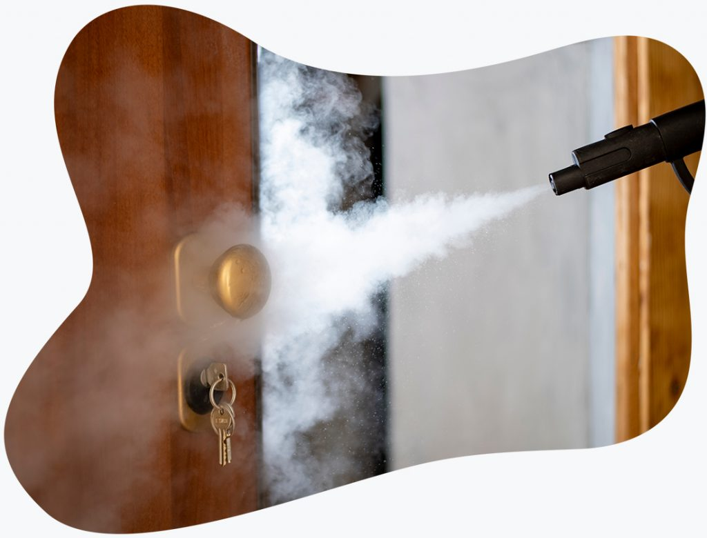 Disinfecting doorknob with electrostatic fogger