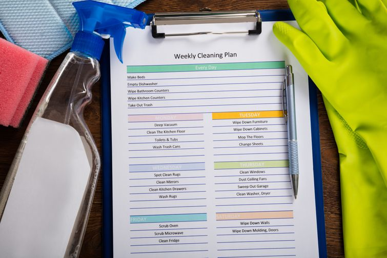 Blue clipboard with list of weekly cleaning tasks