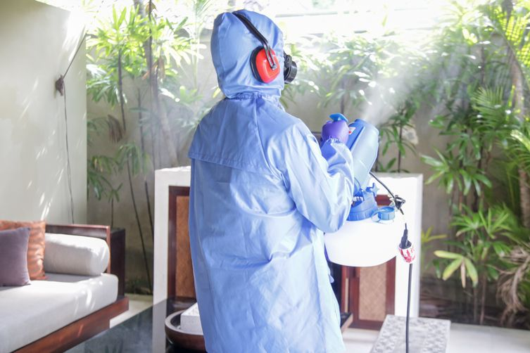 Professional cleaner in blue protective suit spraying plants with safe fogging disinfectant